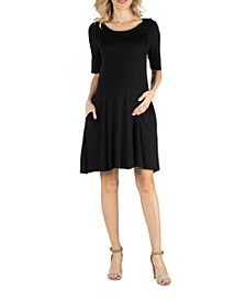 Soft Flare T-Shirt Maternity Dress with Pocket Detail