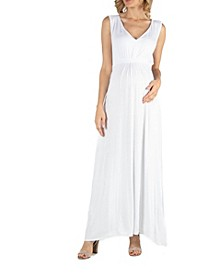 V Neck Sleeveless Maternity Maxi Dress with Belt