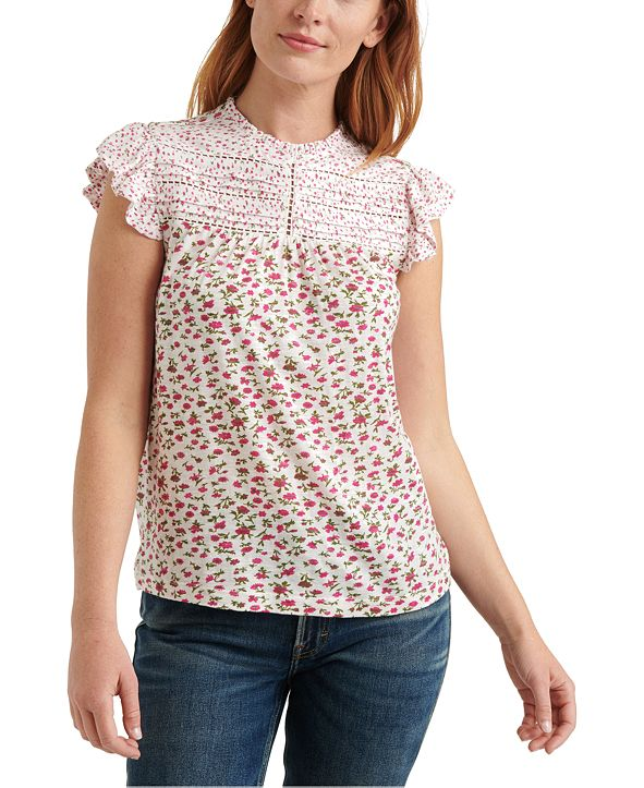 Lucky Brand Floral Printed High-Neck Top