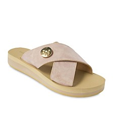 Lotus Crisscross Wedge Slide Sandal