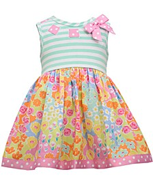 Baby Girls Striped Floral-Print Dress