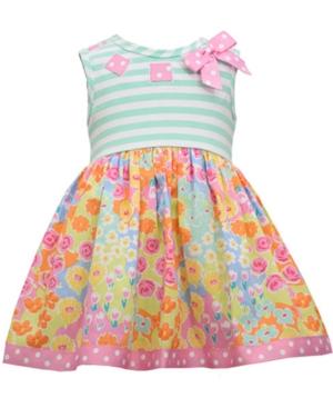 Bonnie Baby Baby Girls Striped Floral-Print Dress