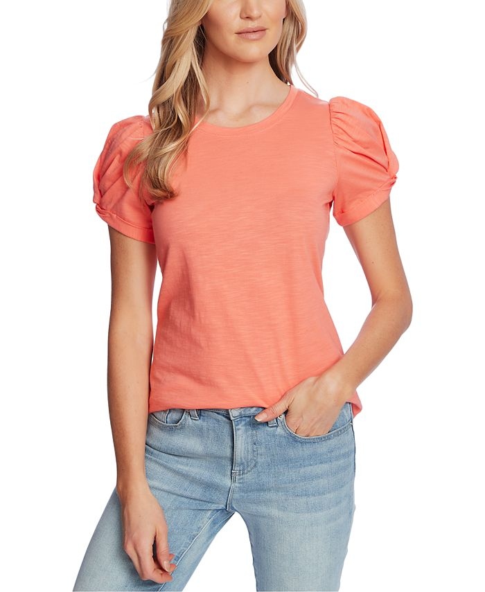 CeCe - Puff-Sleeve Knit Top