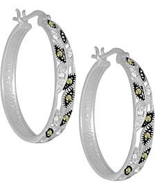 """Swarovski Marcasite & Crystal Medium Vine Hoop Earrings in Fine Silver-Plate, 1.25"""""""