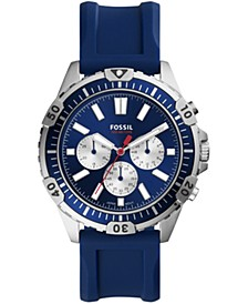 Men's Chronograph Blue Silicone Strap Watch 44mm