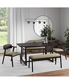 Millie 5 Piece Mid Century Modern Rectangular Espresso Wood Dining Table with Armless Benches and Arm Chairs