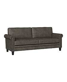 Handy Living Grant Rolled Arm Sofa in Distressed Faux Leather