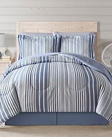 Fairfield Square Coastal Hampton Blue 8Pc Queen Comforter Set