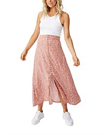 Curve Summer Button Midi Skirt