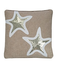 "Maui 18"" x 18"" Sequin Starfish Decorative Pillow"