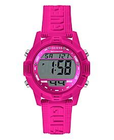Women's Pink Silicone Digital Watch 40mm