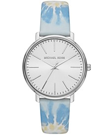 Pyper Three-Hand Blue Tie-Dye Leather Watch