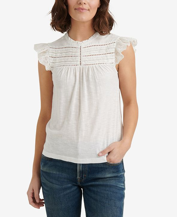 Lucky Brand Cotton Ruffled Eyelet Top