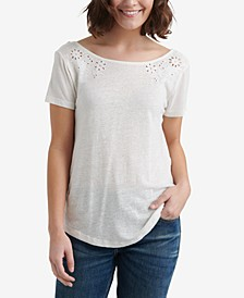 Eyelet Scoop-Back T-Shirt