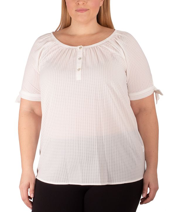 NY Collection Women's Plus Size Raglan Blouse