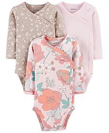 Baby Girls 3-Pk. Printed Side-Snap Cotton Bodysuits