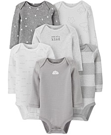 Baby Boys or Girls 6-Pack Printed Long-Sleeve Cotton Bodysuits