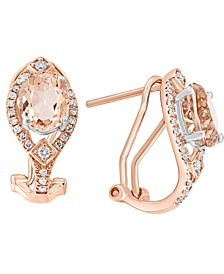 LALI Jewels Morganite (2-3/8 ct. t.w.) & Diamond (1/4 ct. t.w.) Curved Drop Earrings in 14k Rose Gold & 14k White Gold