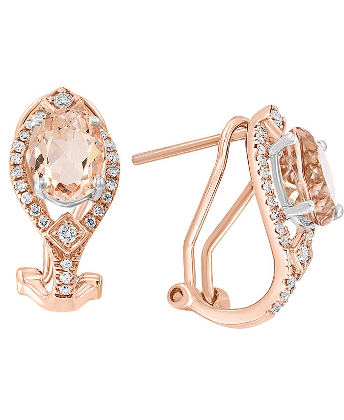 LALI Jewels - Morganite (2-3/8 ct. t.w.) & Diamond (1/4 ct. t.w.) Curved Drop Earrings in 14k Rose Gold & 14k White Gold