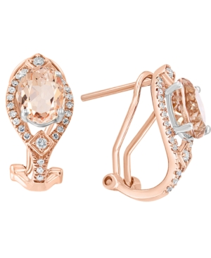 Morganite (2-3/8 ct. t.w.) & Diamond (1/4 ct. t.w.) Curved Drop Earrings in 14k Rose Gold & 14k White Gold