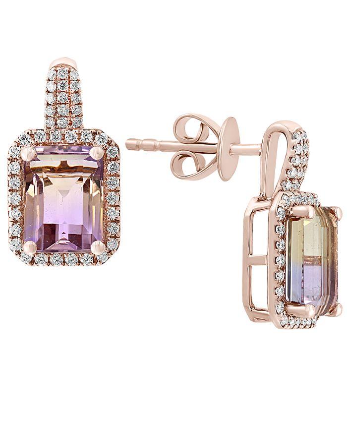 LALI Jewels - Ametrine (2-7/8 ct. t.w.) & Diamond (1/4 ct. t.w.) Drop Earrings in 14k Rose Gold