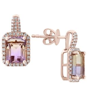 Ametrine (2-7/8 ct. t.w.) & Diamond (1/4 ct. t.w.) Drop Earrings in 14k Rose Gold