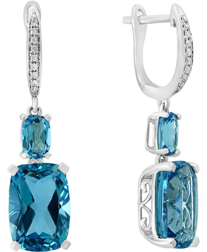 LALI Jewels - Swiss Blue Topaz (11-1/10 ct. t.w.) & Diamond (1/20 ct. t.w.) in 14k White Gold