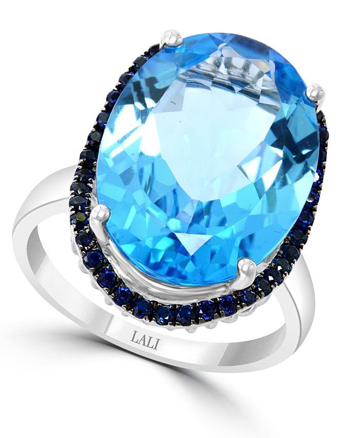 LALI Jewels - Swiss Blue Topaz (13-7/8 ct. t.w.) & Sapphire (1/2 ct. t.w.) in 14k White Gold