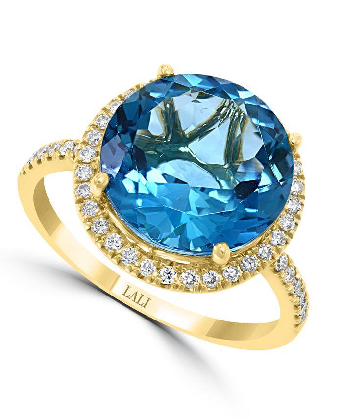 LALI Jewels - London Blue Topaz (6-3/4 ct. t.w.) & Diamond (1/3 ct. t.w.) Statement Ring in 14k Gold