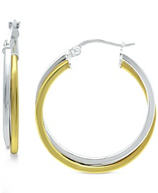 """Small Two-Tone Twist Hoop Earrings in Sterling Silver & 18K Gold-Plated Sterling Silver, 3/4"""", Created for Macy's"""
