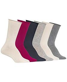 Women's Roll Top 6pk Crew Socks