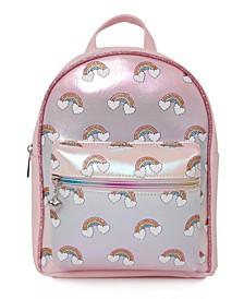 Big Girls Over the Rainbow Print Metallic Mini Backpack