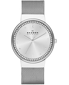Women's Ancher Crystal Stainless Steel Mesh Watch 34mm