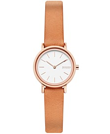 Women's Hald Rose Gold Stainless Steel Brown Leather Watch 26mm