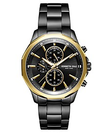 Men's Multifunction Dual Time Two-Tone plated Stainless Steel Watch on Black plated Stainless Steel Bracelet, 44mm