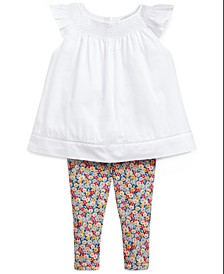 폴로 랄프로렌 여아용 아기옷 상하의 세트렌 Polo Ralph Lauren Baby Girls 2-Pc. Floral-Print Top & Bloomers Set,White