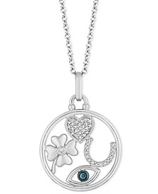 """Lucky Charm Luck pendant (1/10 ct. t.w.) in Sterling Silver, 16"""" + 2"""" extender"""