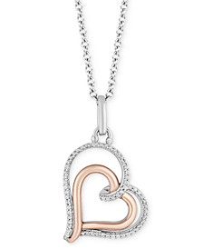 "Double Heart Love pendant (1/10 ct. t.w.) in Sterling Silver & 14k Rose Gold, 16"" + 2"" extender"