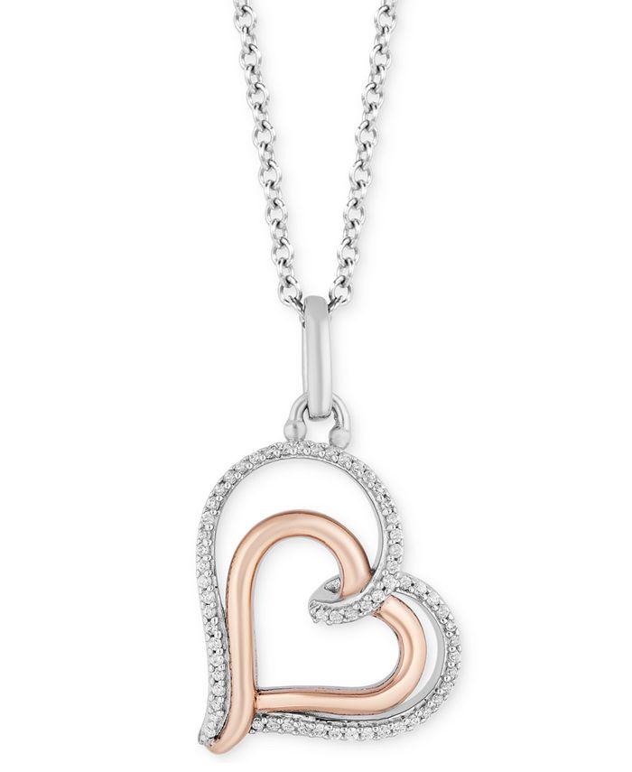 "Hallmark Diamonds - Diamond Double Heart Pendant Necklace (1/10 ct. t.w.) in Sterling Silver & 14k Rose Gold, 16"" + 2"" extender"