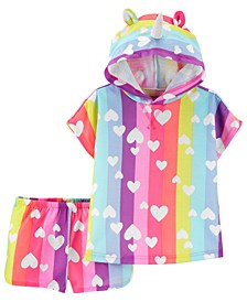 Toddler Girls 2-Pc. Heart-Print Unicorn Sleep Set