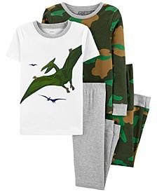 Little Boys 4-Pc. Cotton Dinosaur Pajamas Set