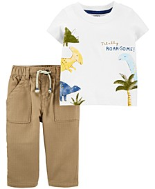 Baby Boys 2-Pc. Cotton Dinosaur T-Shirt & Khaki Pants Set