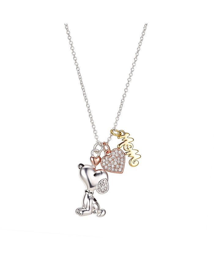 "Peanuts - Gold Flash Plated ""Mom"" Snoopy and Cubic Zirconia Heart Necklace, 16""+2"" Extender"
