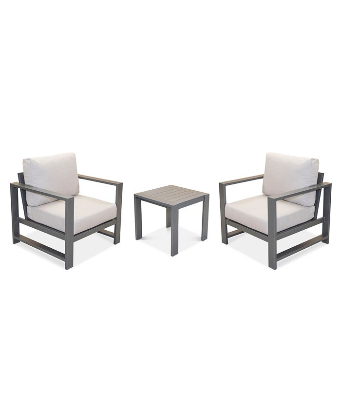Furniture - Aruba Outdoor 3-Pc. Set (2 Club Chairs & 1 End Table), Created for Macy's