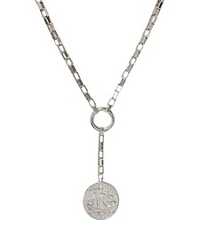 Power Player Coin Rhodium Lariat Necklace