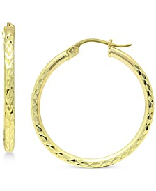 Medium Textured Hoop Earrings in 18k Gold-Plated Sterling Silver, Created for Macy's