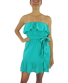 Juniors' Double-Ruffle A-Line Dress