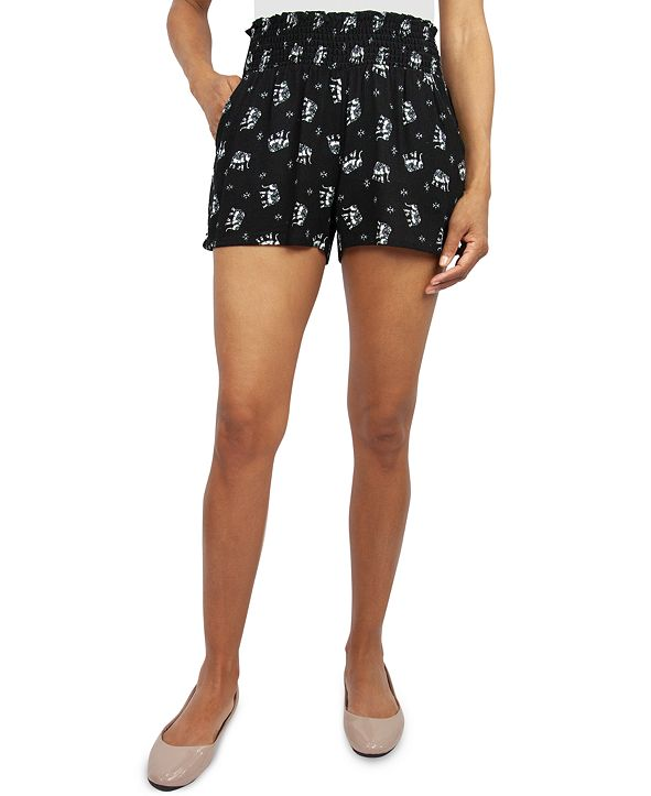 Be Bop Juniors' Smocked Elephant-Print Shorts