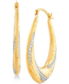 Two-Tone Beaded Oval Hoop Earrings in 14k Gold & White Rhodium-Plate
