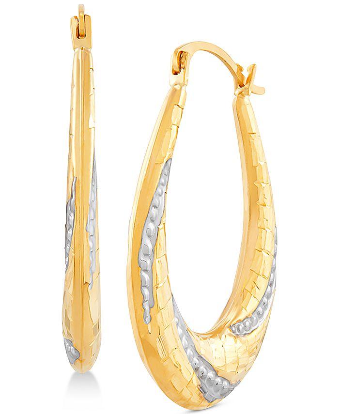 Macy's - Two-Tone Beaded Oval Hoop Earrings in 14k Gold & White Rhodium-Plate